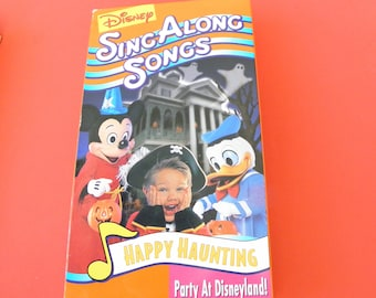 disney happy haunting sing along songs vhs video tape box cover pre owned party at disneyland halloween