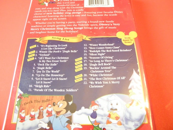 Disney Sing Along Songs Very Merry Christmas Songs.Disney S Very Merry Christmas Sing Along Songs Vhs Video Tape Clam Shell Pre Owned