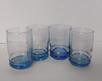 s/4 BLUE Glass Juice Shot Dessert Glasses Anchor Hocking