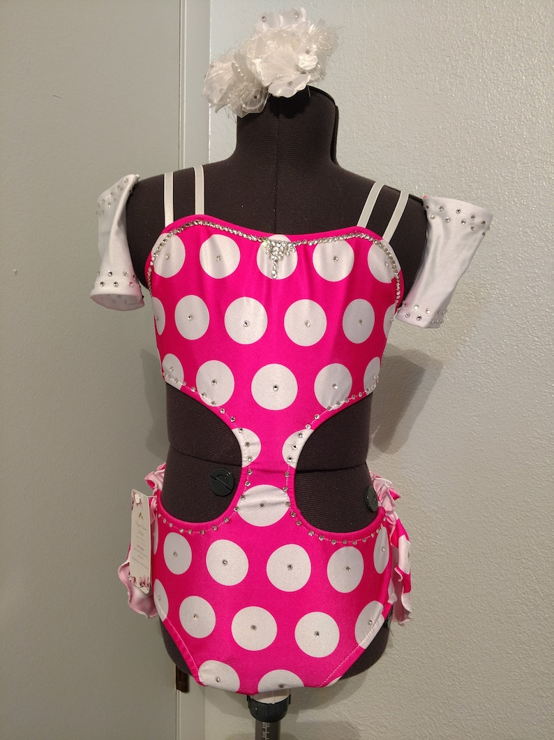 Cut away front Very sassy child Medium Hot Pink and White Polka Dots jazz musical theatre or open dance costume