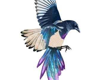 Magpie Temporary Tattoo 3 copies *Premium Quality Die Cut Transfer & Skin Safe* - Fast Shipping