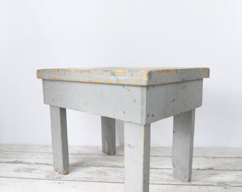 Wood Table Vintage Bench Blue Gray Wood Side Table Primitive Chippy Wood  End Table