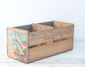 Sunkist Oranges Wood Fruit Crate With Label Wooden Box