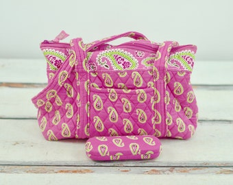 MINI TOTE Reversible Totebag Lunchbag Snack Grocery bag Bookbag Purse Tote Kids bag  Paisley Cotton Olive Green Taupe Tan White Cream Brown