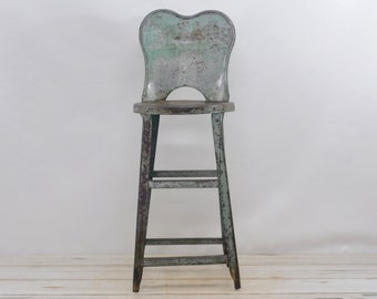 Vintage . Kitchen Stool Metal Stool Chair Gray/Green Metal Chair Tall Stool