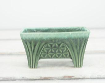 Vintage . California Pottery MidCentury Green Planter Pot Rectangular CP-1446