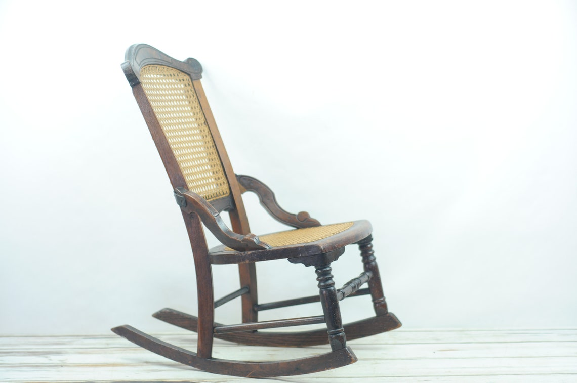 "Antique . Walnut Child's Victorian Eastlake Rocker Rocking Chair 25""H Cane Seat"