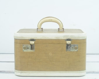 Vintage Suitcase Luggage Train Case Cream And Brown Travel Overnite Bag With Keys