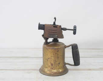 Vintage Brass Blow Torch Wooden Handle Turner Brassworks Sycamore ILL Holly Farms