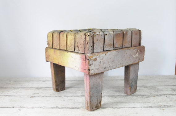 Marvelous Vintage Antique Wood And Leather Handmade Stool Foot Stool Bench Gmtry Best Dining Table And Chair Ideas Images Gmtryco