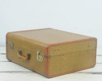 Antique/Vintage Belber? Suitcase Luggage Light Brown Travel Overnite Bag Trunk