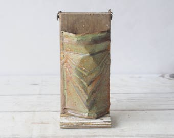 Handmade Wall Pocket Repurposed Antique Ceiling Tin Salvaged Wood Wall Decor #5