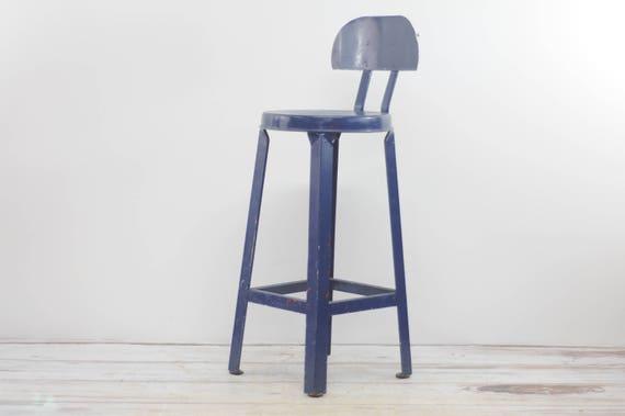Amazing Vintage Kitchen Stool Blue Stool Metal Stool Industrial Stool Metal K2 Inzonedesignstudio Interior Chair Design Inzonedesignstudiocom