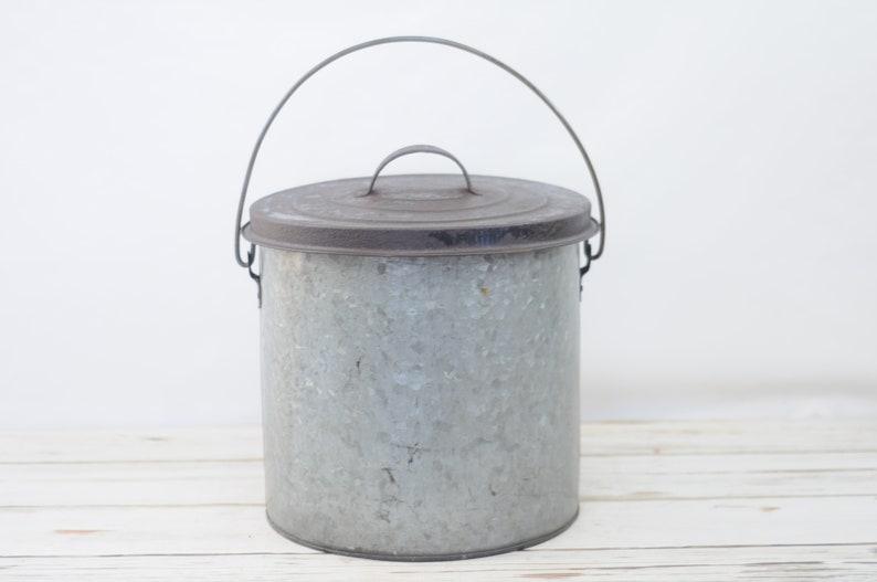 Vintage Zinc Galvanized Trash Can Waste Can Garage Waste Etsy