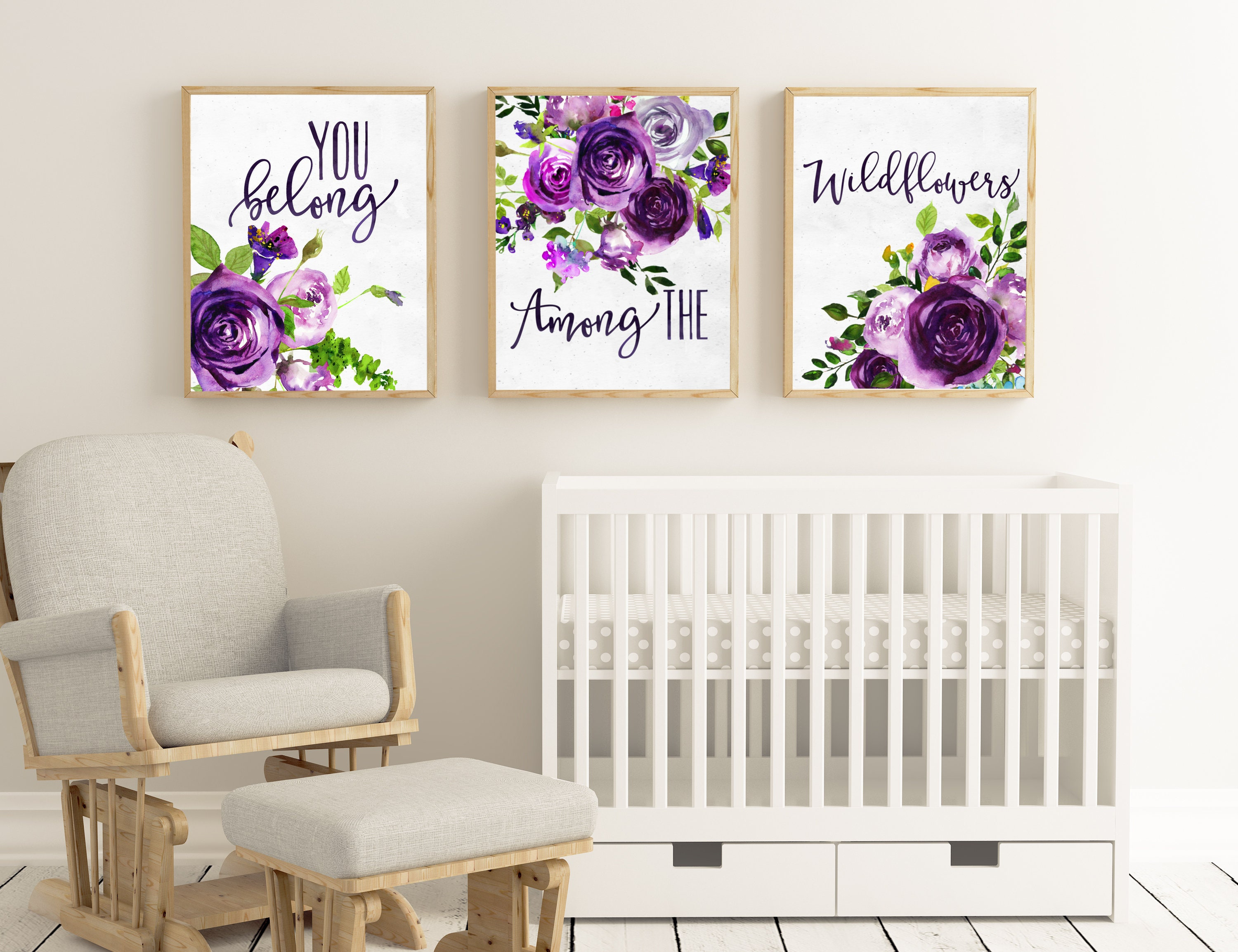 INSTANT DOWNLOAD - Set of 3 prints - You belong among the Wildflowers -  wall art - kids room decor - girls room - purple green floral