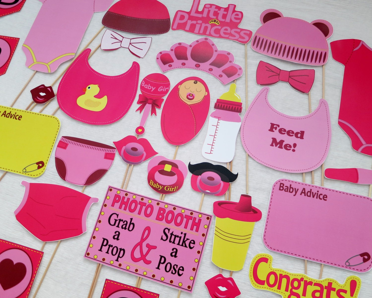 Pdf Girl Baby Shower Photo Booth Props Printable Etsy