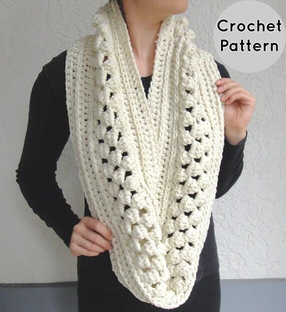 Crochet Pattern Popcorn Crochet Infinity Loop Scarf Etsy