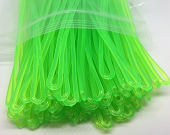 Neon Green Luggage Tag worm loops 6 inch 100 per bag