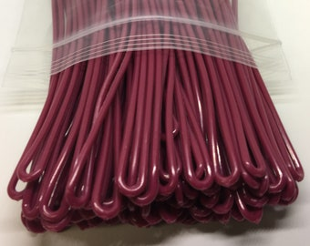Maroon / Burgundy Luggage Tag worm loops 6 inch 100 per bag