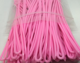 Pink Luggage Tag worm loops 6 inch 100 per bag
