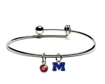 Ole Miss Rebels- Navy M on Red Round Bead Charm Officially Licensed by The University of Mississippi Fits Most Popular Charm Bracelets University of Mississippi Charm Stainless Steel