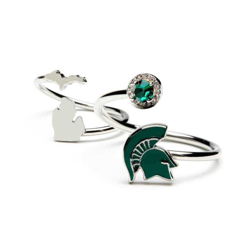 Michigan State University Jewelry MSU Ring Gift Set-Love Michigan Spartans One for You and One for Me Rings Michigan Rings
