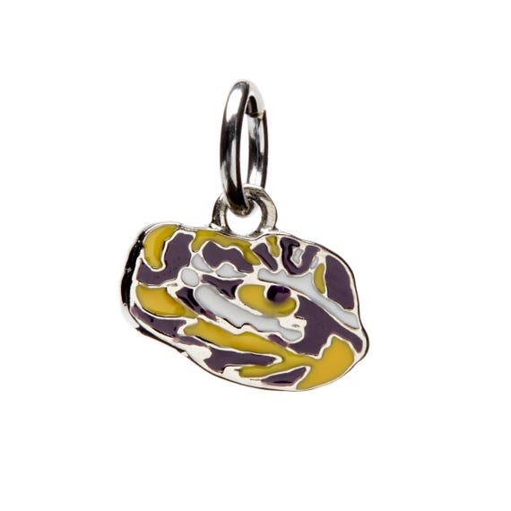 LSU Gifts Louisiana State University Charm LSU Tigers LSU Charms Stainless Steel Officially Licensed Louisiana State University Jewelry Tiger Eye Pendant Charm