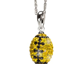 Yellow and Black Crystal Football Pendant Necklace