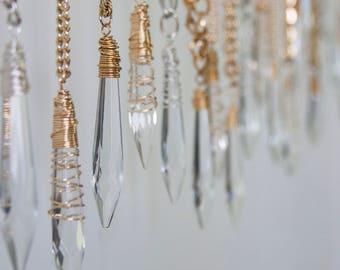 Vintage Chandelier Crystal Pendant Necklace, Gold Plain Wrap