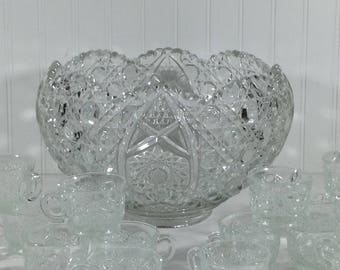L E Smith Glass Daisy & Button Clear Punch Bowl and 18 Cups