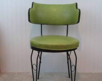 Vintage Wrought Iron and Green Vinyl Retro Chair ~ one leg needs welding