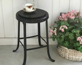 Vintage 22 quot Metal and Wood Counter Stool Engineers Drafting Machinist Industrial Seating Rustic Painted Black