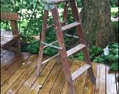 Vintage Step Ladder Three Step Wooden Folding Plant Stand Rustic Ladder Farmhouse Decor