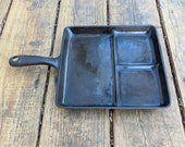 Vintage Cast Iron Wagner Ware Sidney -O- Bacon And Egg Breakfast Skillet 1101K, 9 quot , Three Sections Cookware NOT PERFECT