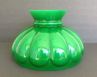 Hurricane lamp shade etsy 10 green white cased glass melon student lamp shade replacement lighting shiny high gloss hurricane globe 9 78 fitter excellent condition aloadofball Gallery