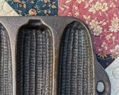 Vintage Cast Iron Corn Ear Mold Baking Pan, 13 quot x 6 quot , quot Wagner Ware Made in the USA quot Cornbread Pan With 7 Molds Cornstick Sticks
