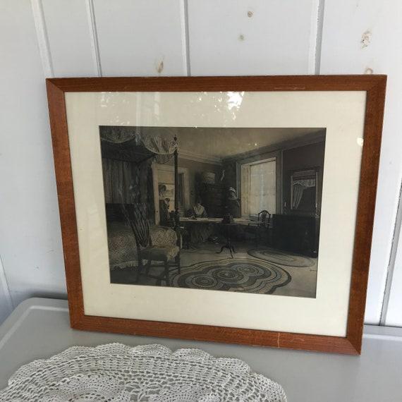 Antike gerahmte Foto Ladys Naht im Schlafzimmer schwarz weiß blau 18 \