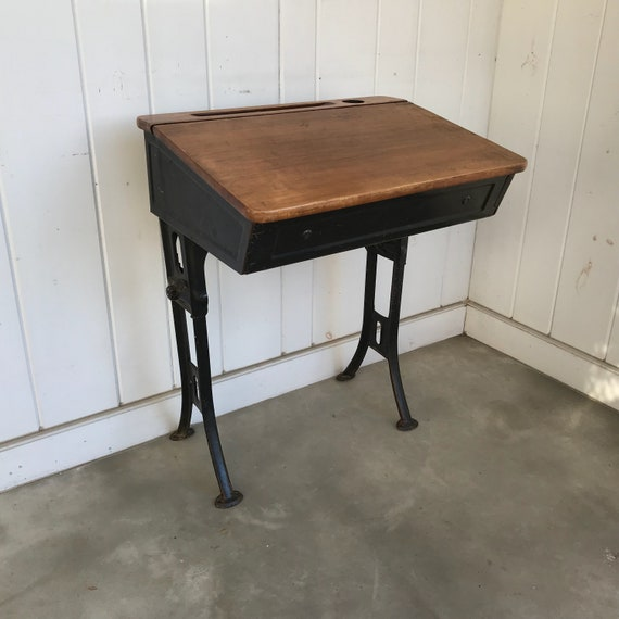 image 0 - Vintage Childs School Desk Lift Top Adjustable Legs NOT PERFECT It Does  Have An Issue With An Area On Each Leg May Need Welding Desk ONLY