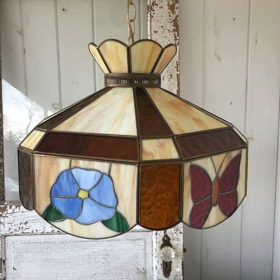 Stained Glass Hanging Light Fixture Butterflies and Flowers | Etsy