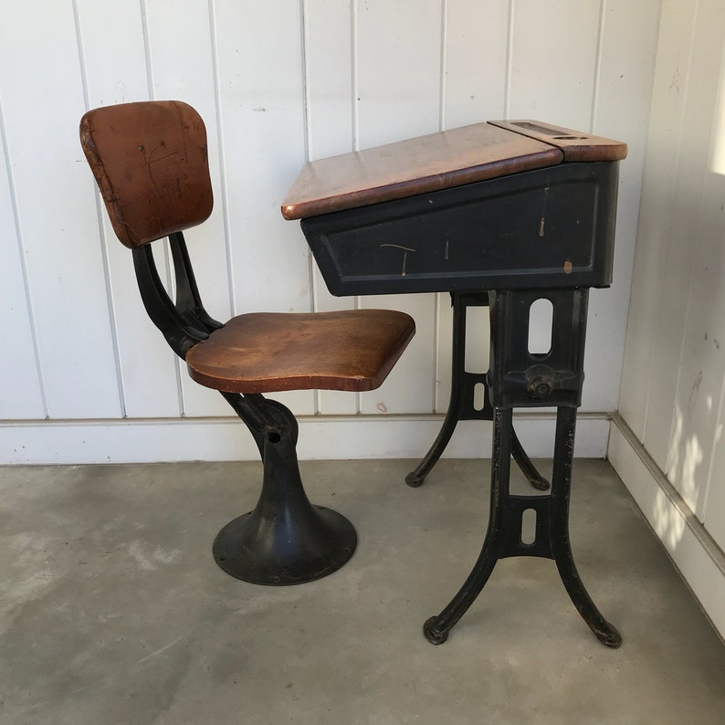 Vintage Childs Chair for School Desk Bolts to Floor Wood and Cast Iron  CHAIR ONLY