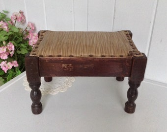 Vintage Footstool Walnut Brown and Gold Vinyl Plastic Fabric Sturdy Stool