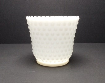"White Milk Glass Hobnail Round Planter 4 3/4"" Wide x 4 1/4"" Tall Scalloped Rim"