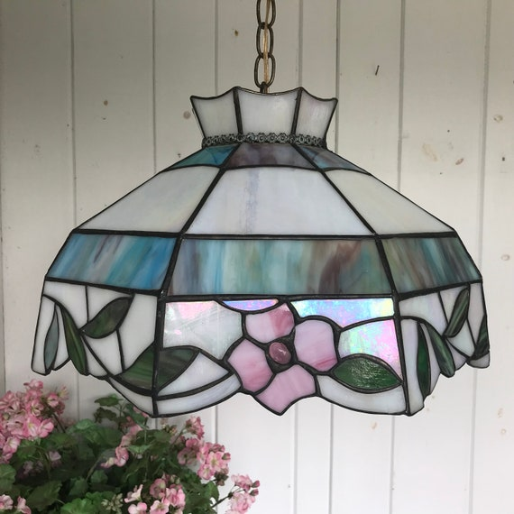 Tiffany Style Stained Glass Hanging Light Fixture Blue Pink | Etsy