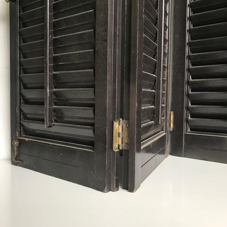 4 Panels 22 high x 35 wide Black Interior Wooden Louvered Shutters #LRT