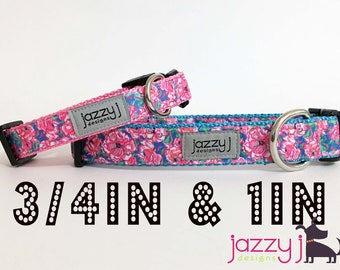 Lucky Charm Pink Flowers Dog Collar