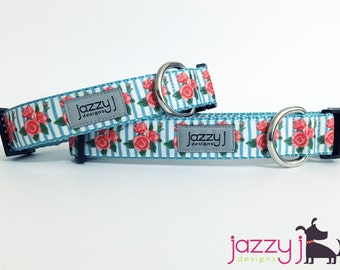 Blue Striped Flowers Dog Collar