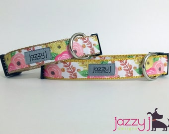 Gold Flowers Dog Collar