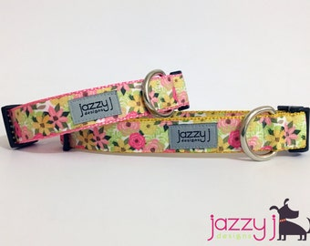 NEW Gold Flowers Dog Collar