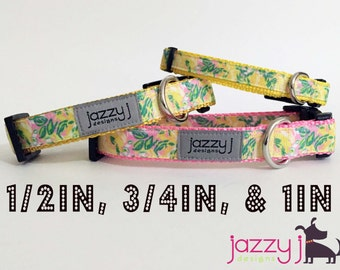 Yellow Tropical Flowers Dog Collar