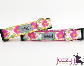 Pink and Gold Flowers Dog Collar